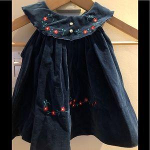 Blue velvet embroidered dress